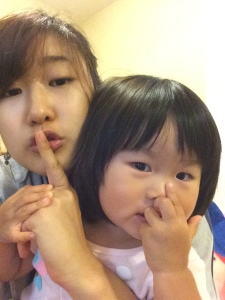 """Goofing around with Alexis because she likes to take pictures (like she really does haha)  This is how she says """"sh"""", she squishes her nose~ how cute!"""